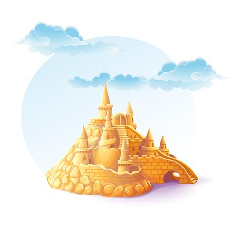 castle sand: Ilustraci�n castillo de arena en el fondo del cielo Vectores