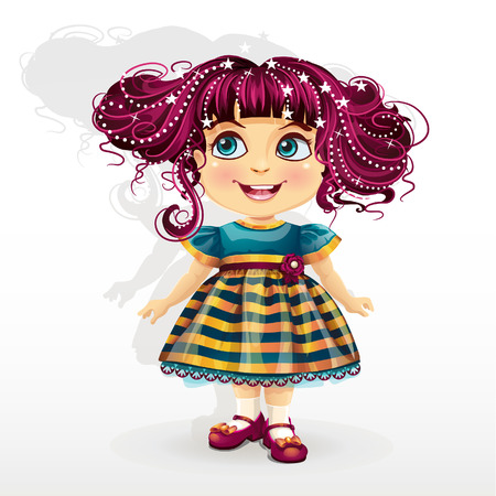 cute girl cartoon: little girl with pink hair