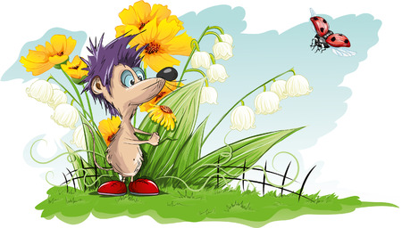 cartoon mouse: Vector card with flowers and little mouse