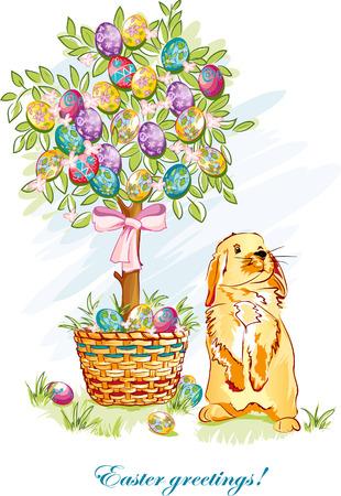 arbol de pascua: Postal festiva con huevos de Pascua, cestas y conejitos