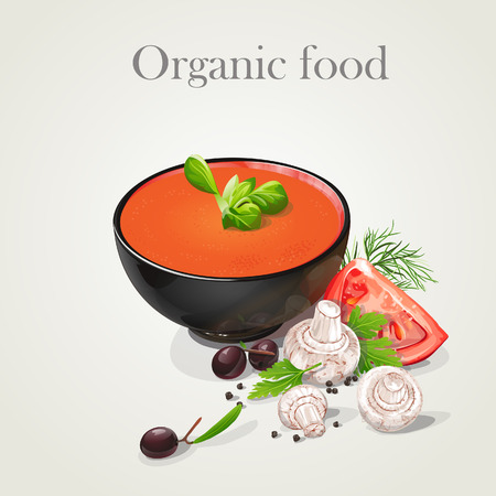 Tomato soup with fresh vegetables  Organic food  Vector