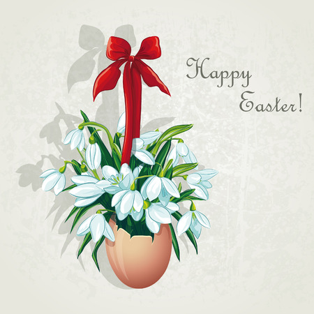 primrose: Easter card for the day with snowdrops Illustration