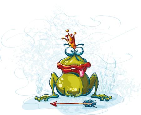 grappige vector illustratie met de kikker Nou je waar Prins