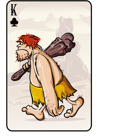 masculinity: Vector illustration of a playing card on the primitive man