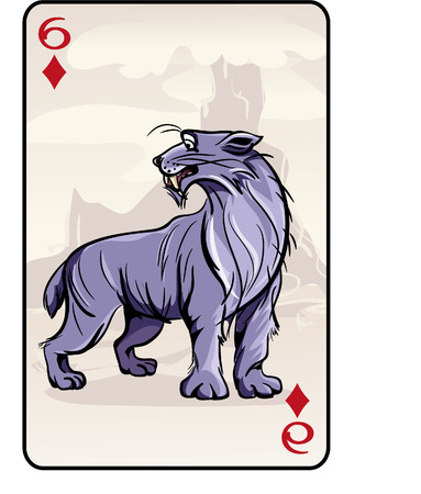 powerful volcano: Vector illustration of playing cards with prehistoric panther
