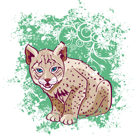 lynx: Young lynx on a green background Illustration