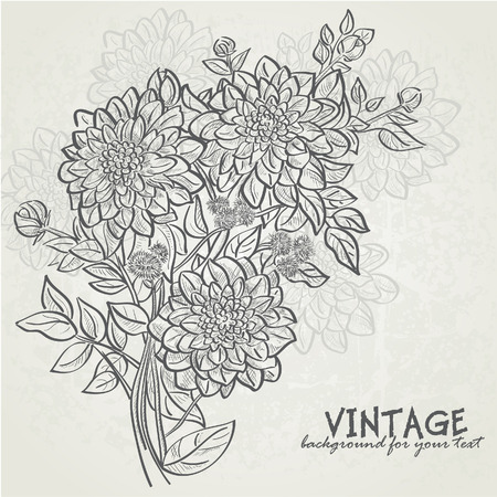 edwardian: Vintage background with flowers dahlias  Background for your text