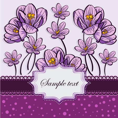 Floral background with crocuses Vector