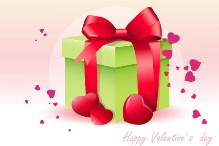 present box: Card for Valentine with present box illustration