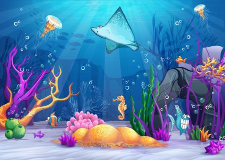 Illustratie van de onderwater wereld met een grappige vis en vis ramp
