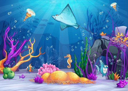 Illustration of the underwater world with a funny fish and fish ramp