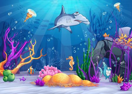 Ilustración del mundo bajo el agua con un pez divertido y tiburón martillo Foto de archivo - 30905896