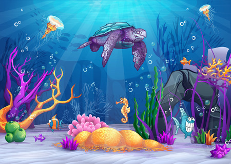 tortuga caricatura: Ilustración del mundo bajo el agua con un pez divertido y la tortuga Vectores
