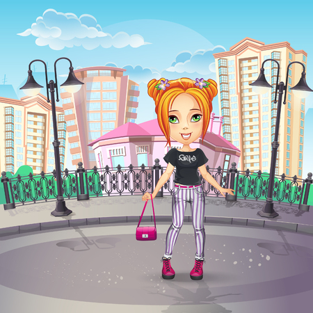 Image of the city promenade with a teen girl in jeans