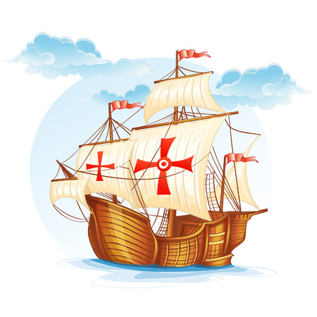 caravel: Cartoon image of a sailing ship of Spain, XV century Illustration
