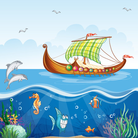 Cartoon image of the water world with merchant ships Viking S VI Illustration