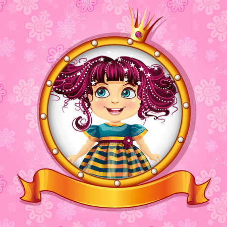 little girl dress: Background with a little princess with pink hair  Illustration