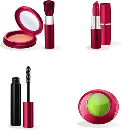 make up products: Set of cosmetics makeup Illustration