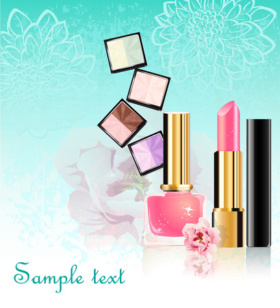 Cosmetics set with flowers