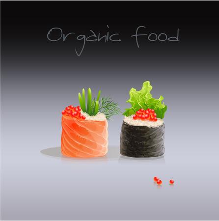 caviar: Sushi set avec caviar rouge