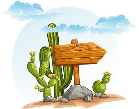 Houten wijzer met cactussen in de woestijn Stock Illustratie