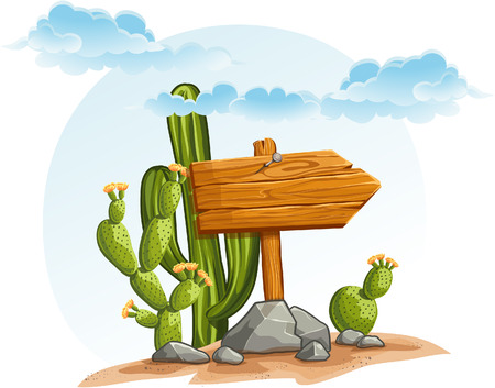 desert landscape: Wooden pointer with cacti in the desert