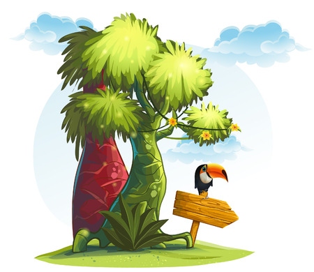 cartoon jungle: Illustration jungle trees with wooden pointer and bird toucan Illustration
