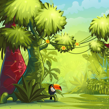 jungle scene: Illustration sunny morning in the jungle with bird toucan