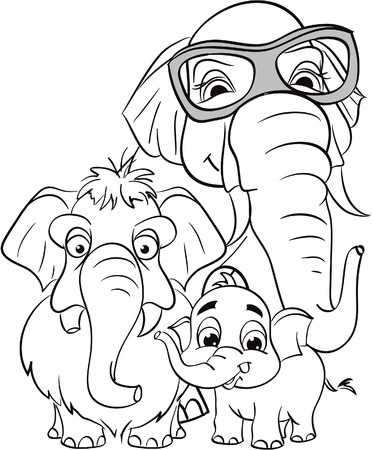 Outline drawing of the family of elephants
