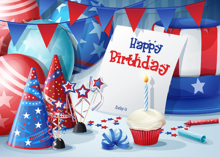 party poppers: Greeting card with birthday