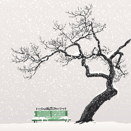 Illustration of a winter landscape with a tree and a bench