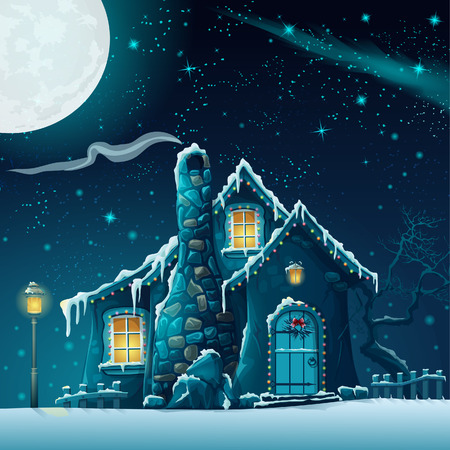 Illustration of a winter night with a fabulous house and lantern Vettoriali