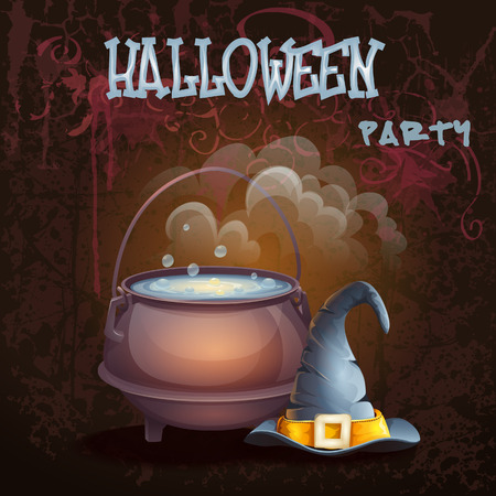 cauldron: Halloween illustration with a bowler hat and cap