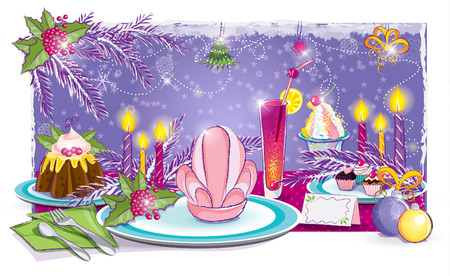 Illustration of a festive table for the New Year Vector