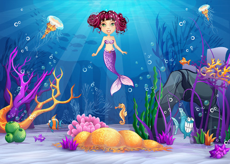 Illustration of the underwater world with a mermaid with pink hair Vector
