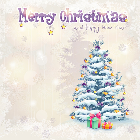 season s greeting: Greeting card for Christmas and the new year with a Christmas tree and gifts Illustration