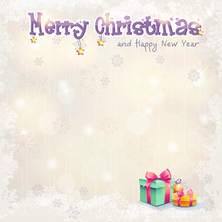 new year s card: Greeting card for Christmas and the new year with gift boxes