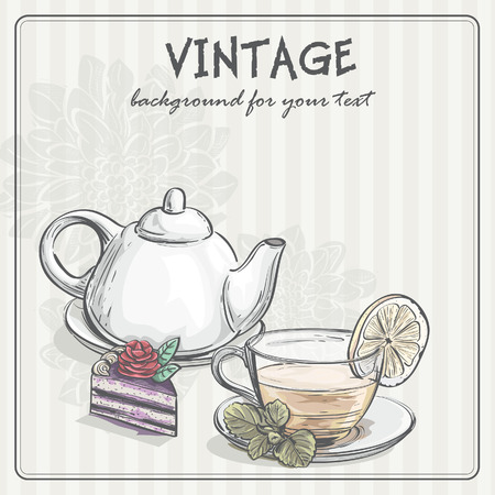 tea rose: Vintage background with tea and the torus