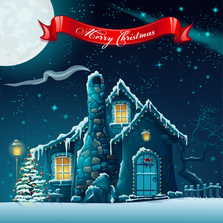 estrella caricatura: Tarjeta de felicitación con un árbol de navidad y de la casa de hadas Vectores