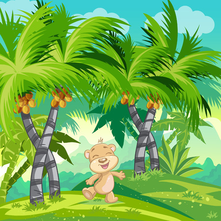 bush babies: Children illustrations tropical forest with teddy bear