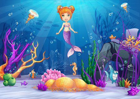 Illustration of the underwater world with a funny fish and a mermaid  Ilustração