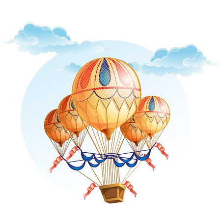 colored balloons: Image of a hot air balloon in the sky