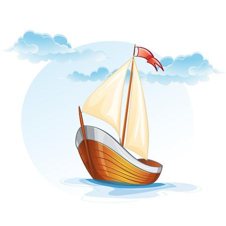 Cartoon image of a wooden sailing boat