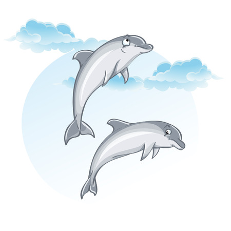 Cartoon image of dolphins