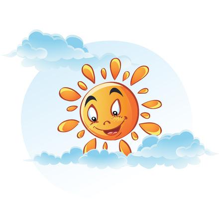 Cartoon image of sun in the clouds Ilustração