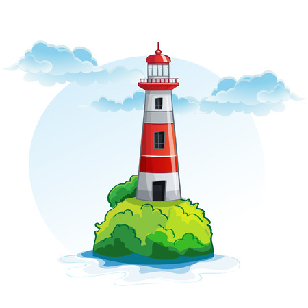 Cartoon image of the island with a lighthouse