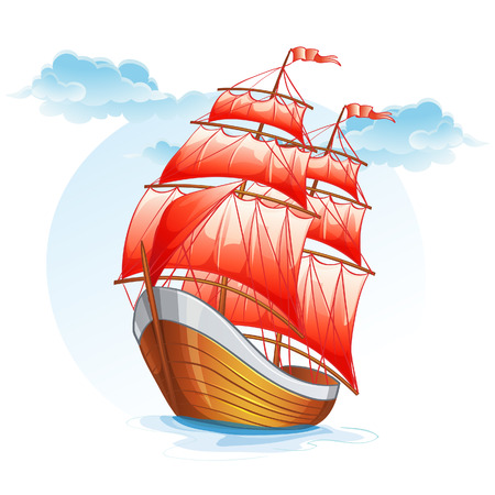 Cartoon images of a sailboat with red sails