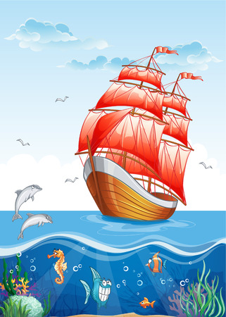 Children illustration sailing boat, underwater Ilustrace