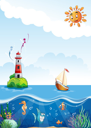 algae cartoon: Children illustration sailing boat, underwater Illustration
