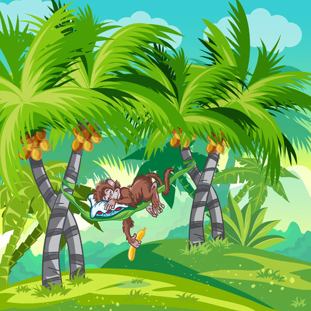 Children illustrations tropical forest with monkey Vector